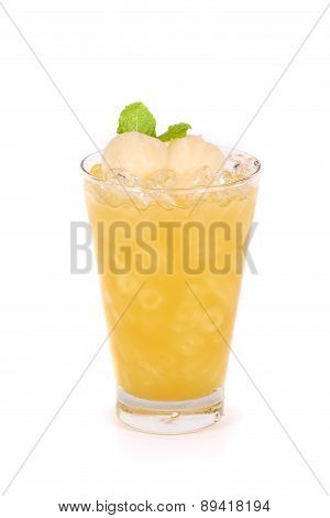 Lychee Juice In A Glass Isolated On White Background