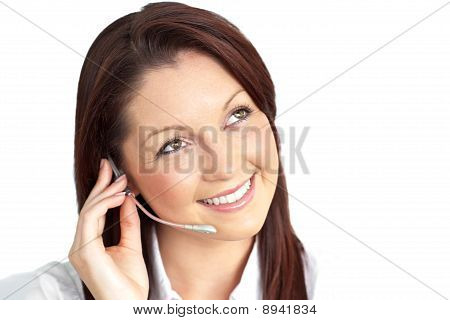 Charming Young Businesswoman Wearing Earpiece