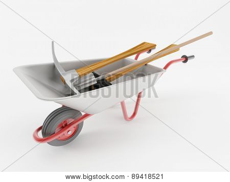 3d render of a wheelbarrow with tools