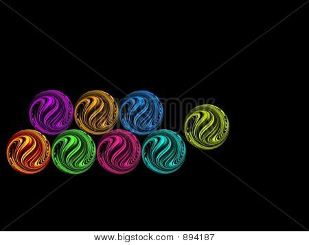 Colorful Milky Marbles Fall Side Way