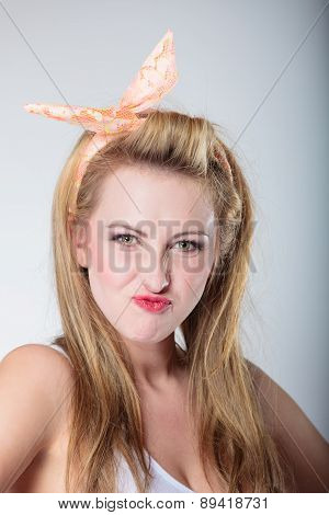 Pin Up Blonde Fashion Girl Funny Face