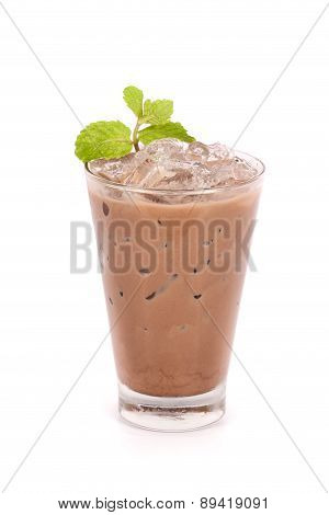 Iced Cocoa In A Glass Isolated On White Background