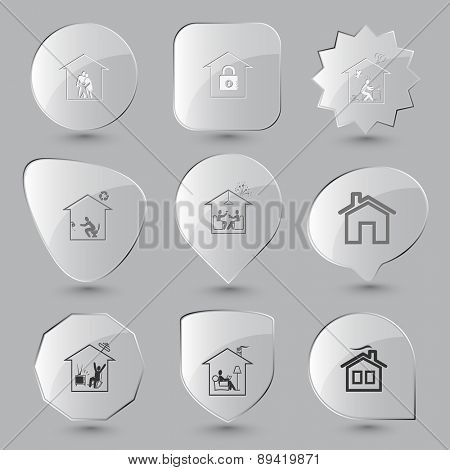 Home set. Raster glass buttons.