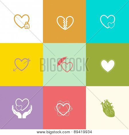 Heart shape set. Flat color raster icons.