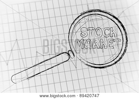 Stock Market, Magnifying Glass Focusing On Business Performance Graph