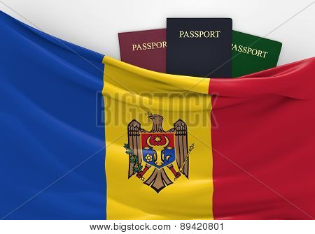Travel and tourism in Moldova, with assorted passports