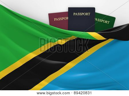 Travel and tourism in Tanzania, with assorted passports