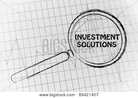 Investment Solutions, Magnifying Glass Focusing On Business Performance Graph