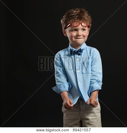 Young Boy Todder Bow Tie Red Glasses