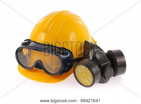 Collection Of Helmet, Chemical Protective Mask And Eye Protection Or Goggles On White Background