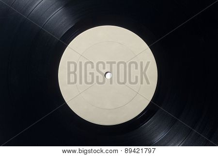 Closeup Of Vinyl Long Play Record With Label