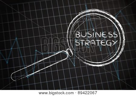 Business Strategy, Magnifying Glass Focusing On Business Performance Graph