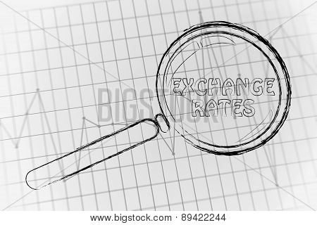 Exchange Rates, Magnifying Glass Focusing On Business Performance Graph