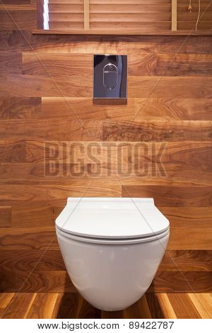 Wooden Small Toilet Interior
