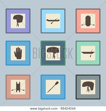 Rafting sport items silhouette icon set. Oar and paddle rafts. Paddle and helmets. Whitewater raftin