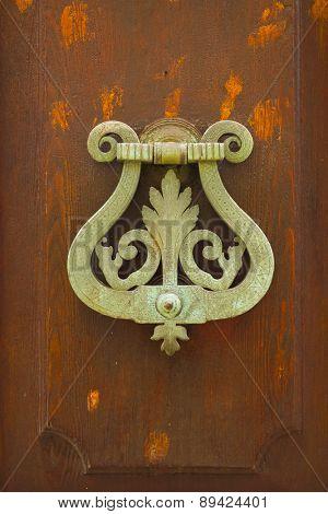 Close-up shot of old door handle
