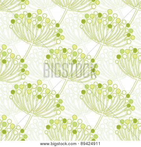 Vector green bubble plants geometric seamless pattern background