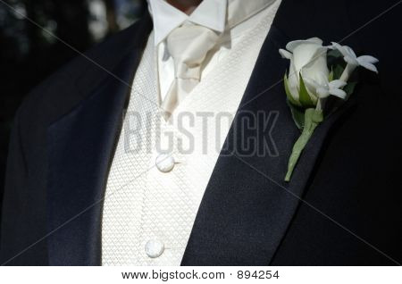 Groom In Tux And Tie