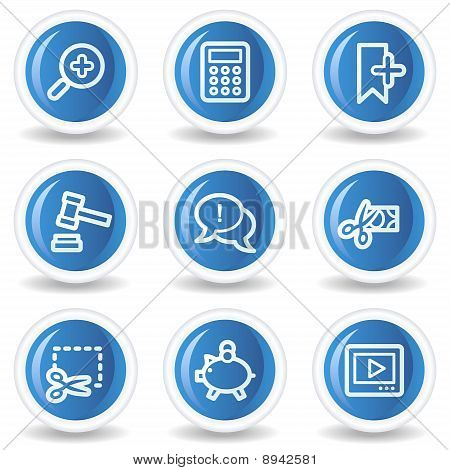 Shopping Web Icons Set 3, Blue Glossy Circle Buttons