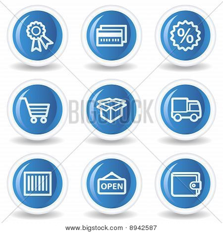 Shopping Web Icons Set 2, Blue Glossy Circle Buttons