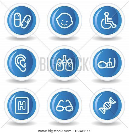 Medicine Web Icons Set 2, Blue Glossy Circle Buttons