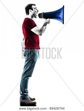 one man with megaphone silhouette isolated in white background