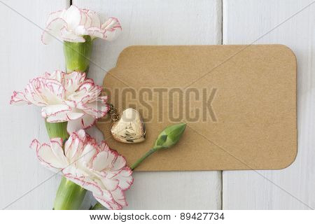 Carnations with Heart Locket and Gift Tag
