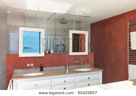 Interior, beautiful modern apartment, comfortable bathroom