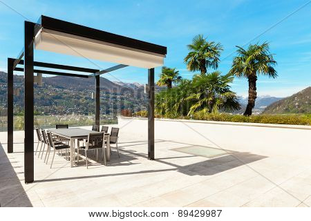 architecture, modern house, beautiful veranda overlooking the lake