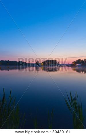 View of a lake during sunrise