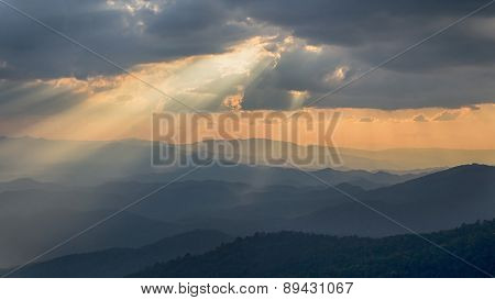 Beautiful Sunset And Light Beam At Doi Pui ,chiang Mai ,thailand