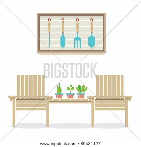 Wooden Garden Chairs With Plants And Tools Gardening Concept.