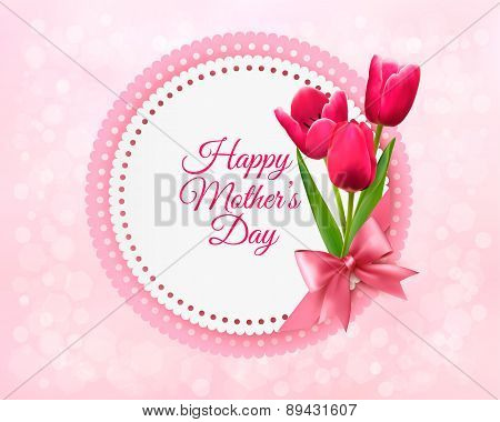 Pink Tulips With Happy Mother's Day Gift Card. Vector.