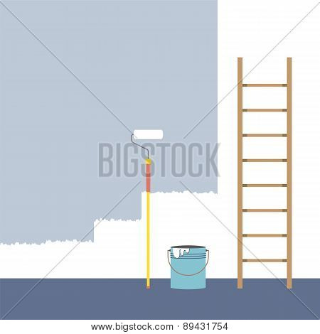 Ladder, Paint Roller And Paint Bucket Home Improvement.