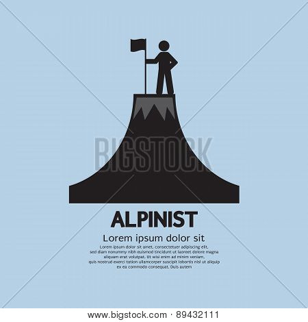 Alpinist Standing With Flag And Pole On The Top Of Mountain.