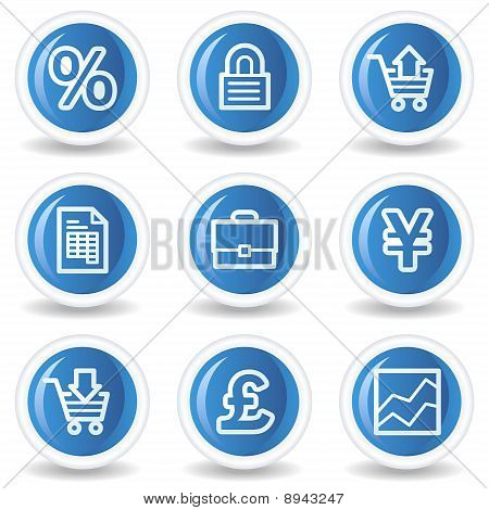 E-business Web Icons, Blue Glossy Circle Buttons