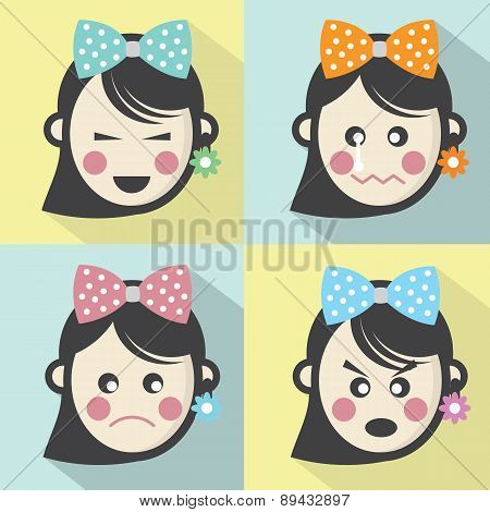 Woman Different Facial Expressions Flat Design Icons.