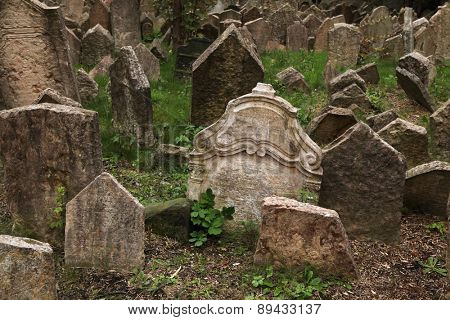Abandoned tombstones at the Old Jewish Cemetery in Prague, Czech Republic.