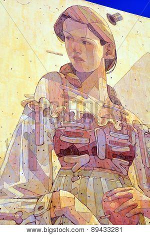 Mural german woman