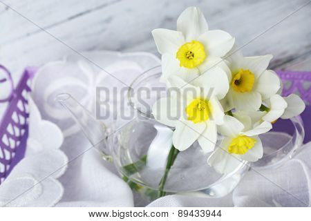 Fresh narcissus flowers on tray, closeup