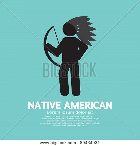 Native American With Weapon Black Symbol Graphic.