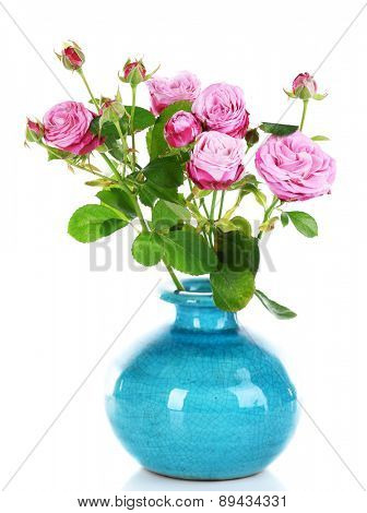 Beautiful roses in vase isolated on white