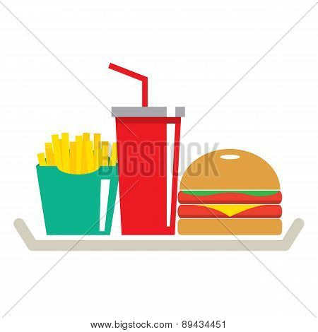 Hamburger, French Fries And A Glass Of Cola In Tray.