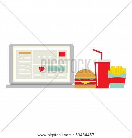 Fast Food Beside Laptop For Worker.