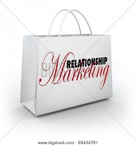 Relationship Marketing words on a shopping bag to illustrate customer or buyer loyalty and rewards for frequent purchases