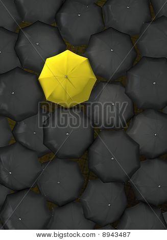 Lonely yellow umbrella.