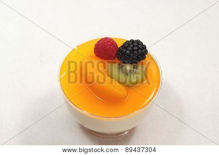 Peach Mousse In Glass, White Fresh Fruit