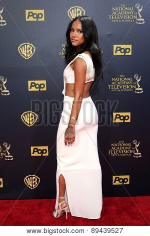 BURBANK - APR 26: Karrueche Tran at the 42nd Daytime Emmy Awards Gala at Warner Bros. Studio on April 26, 2015 in Burbank, California