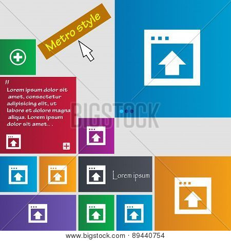 Direction Arrow Up Icon Sign. Metro Style Buttons. Modern Interface Website Buttons With Cursor Poin