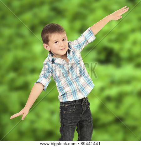 Little boy on nature background
